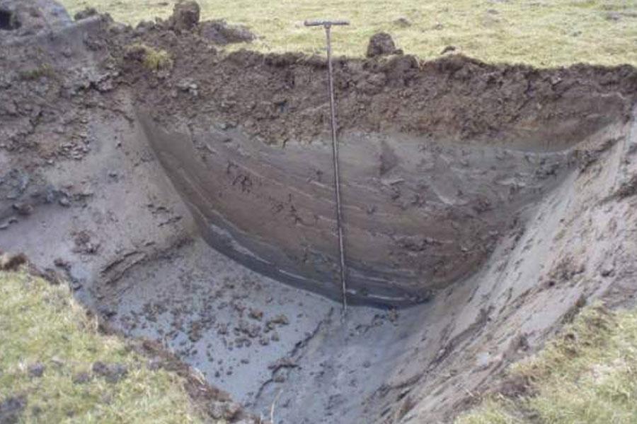 Foto zeigt Messung der Bodenbeschaffenheit anhand einer Bodengrube | Bodenschutz und Altlasten